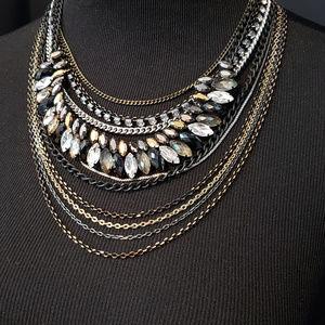 LOFT silver/gold/black chain multistrand necklace